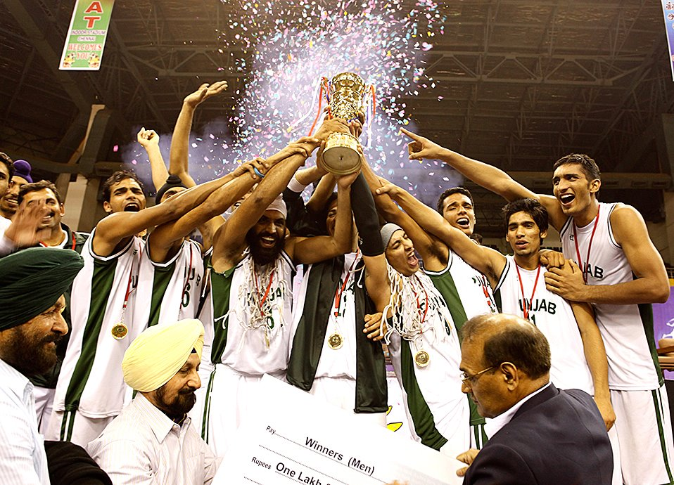 Iconic picture of Punjab Basketball team winning the National Basketball Championship in 2011.