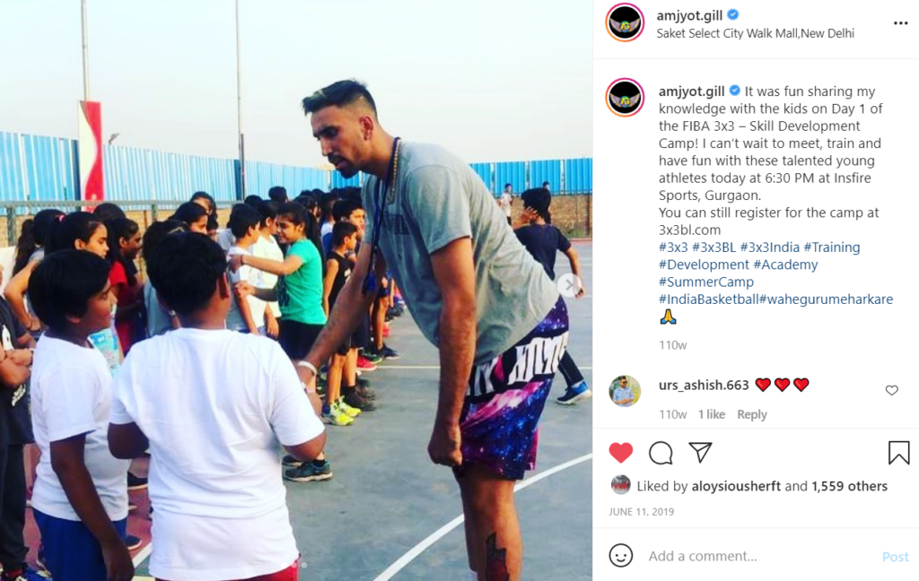 Amjyot Singh Gill interacting with kids during the FIBA 3x3 - Skill development camp at Insfire Sports, Gurgaon