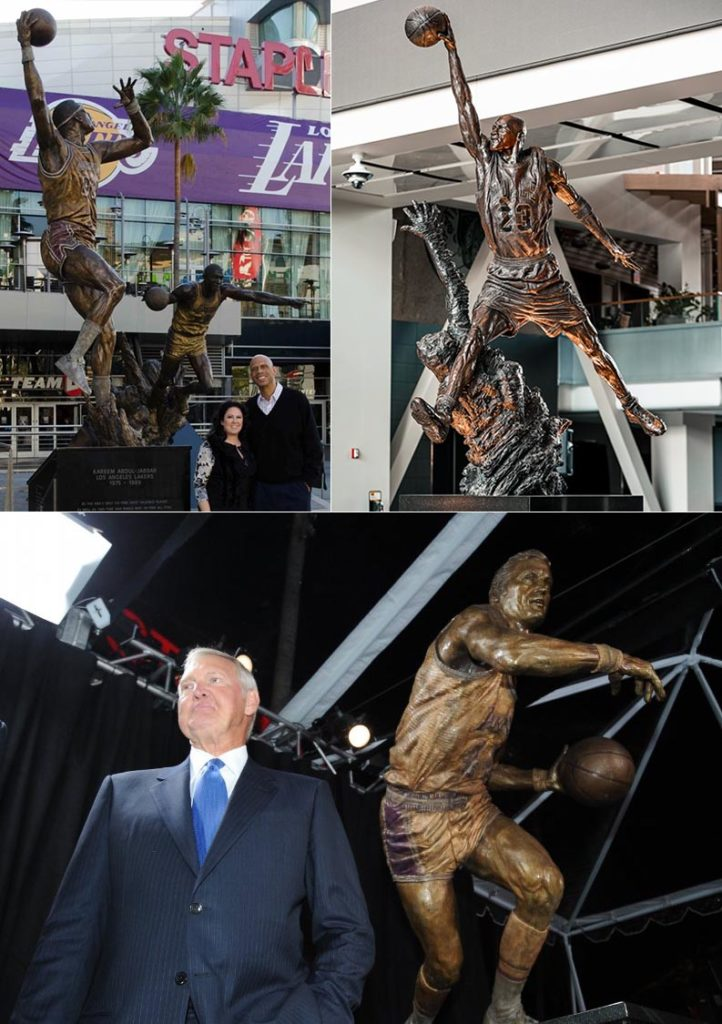 With Ranveer Singh signed as brand ambassador of NBA in India, here are some statues of NBA players he can take a picture with- Jerry West, Magic Johnson and Kareem Abdul-Jabbar at Staples Center, and Michael Jordan at United Center.